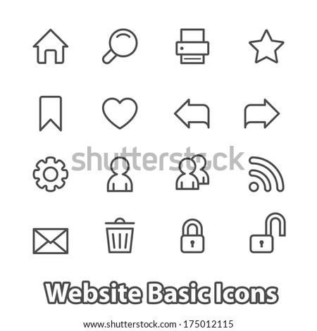 Basic set of website icons for navigation, contour flat isolated  illustration - stock photo