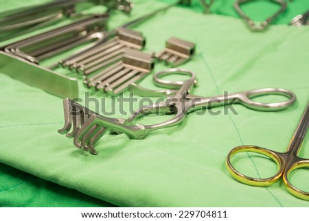 basic surgical instruments - stock photo