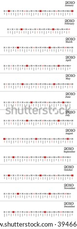 Basic wall calendar 2010 for diverse manipulation - stock photo