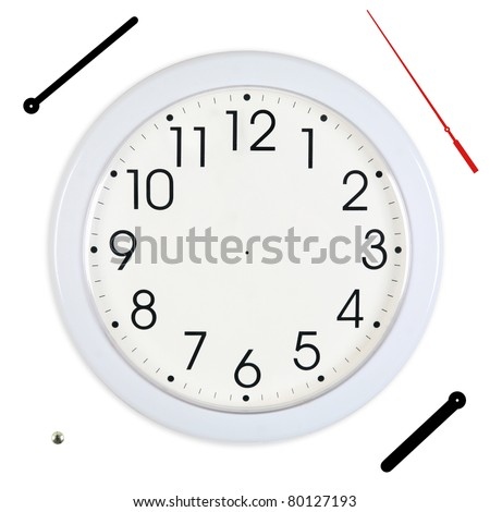 Basic White Wall Clock with Hands Separated - stock photo