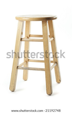 Basic Wooden Stool, isolated against white ground.
