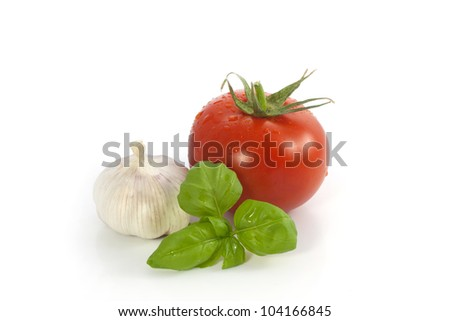 Basil, garlic, tomato - stock photo