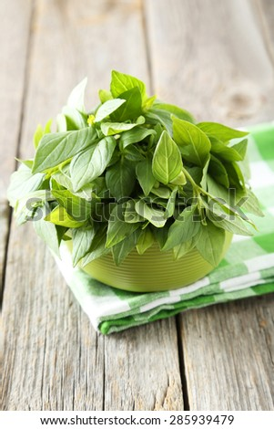 Basil leaves in bowl grey wooden background