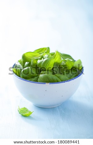 basil leaves in bowl over blue