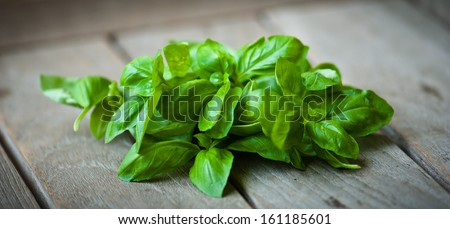 Basil leaves on a wooden table - stock photo