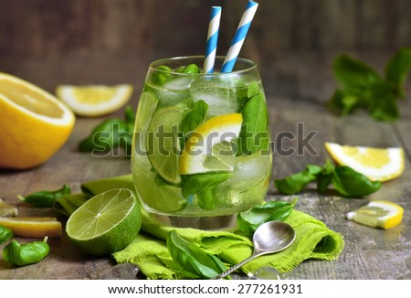 Basil lemonade - cold summer drink. - stock photo