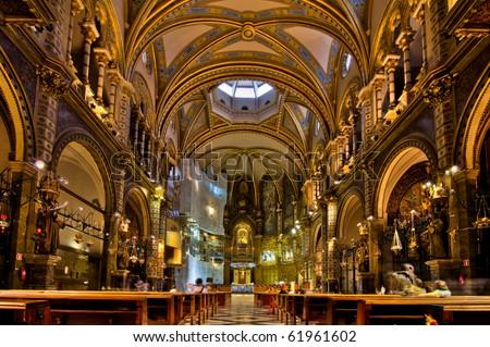 Basilica at the Montserrat Monastery - stock photo