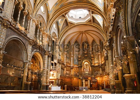Basilica at the Montserrat Monastery, a spectacularly beautiful Benedictine Abbey high up in the mountains near Barcelona, Catalonia, Spain. - stock photo