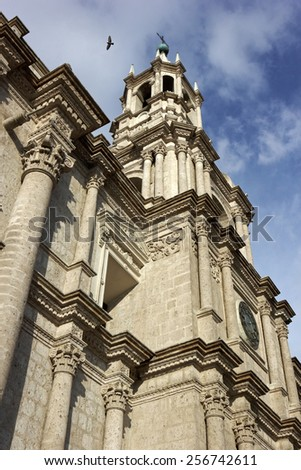 Basilica Cathedral of Arequipa in Plaza de Armas in Peru - stock photo
