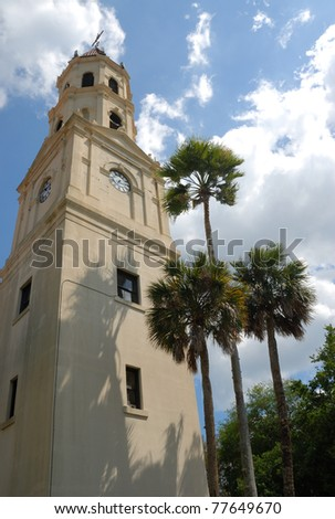 Basilica Cathedral of historic St. Augustine Florida usa - stock photo