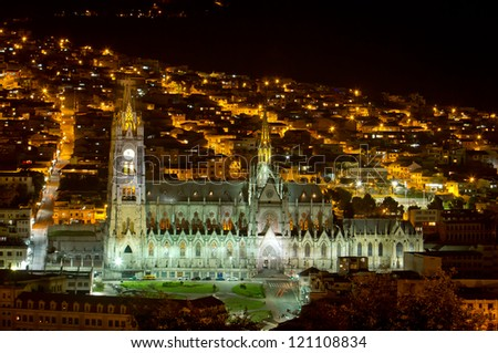 Basilica Cathedral of Quito, Ecuador night shot