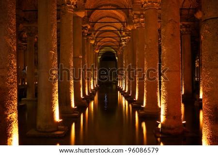 Basilica Cisterne Istanbul - stock photo