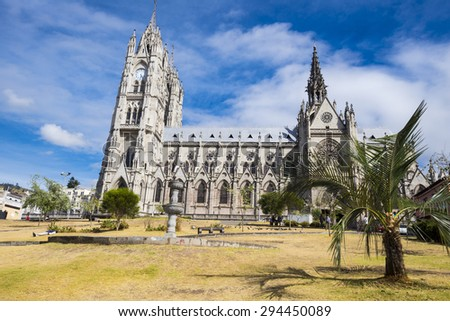 Basilica del Voto Nacional church, Quito (Ecuador) - stock photo