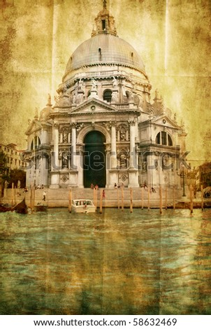 Basilica della Salute from grand canal - artwork in painting style - stock photo