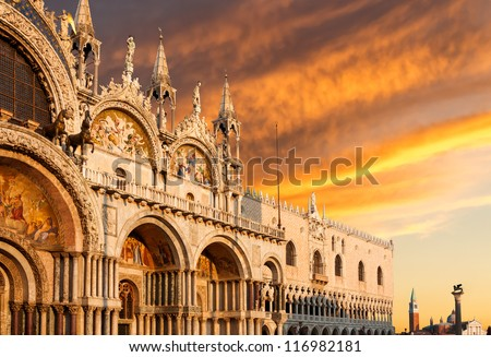 Basilica di San Marco and Monastery of San Giorgio under very dramatic sunset, Venice, Italy - stock photo