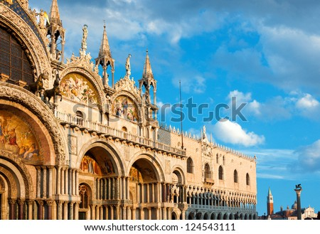 Basilica di San Marco under interesting clouds, Venice, Italy - stock photo