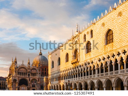 Basilica di San Marco under sunset clouds, Venice, Italy - stock photo