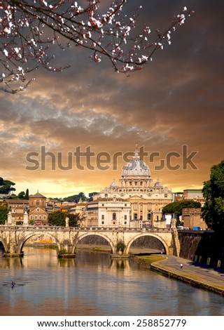 Basilica di San Pietro during spring time in Vatican, Rome, Italy - stock photo