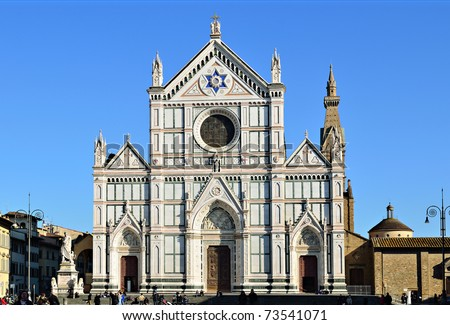 Basilica di Santa Croce (Basilica of the Holy Cross), in Florence, Italy - stock photo