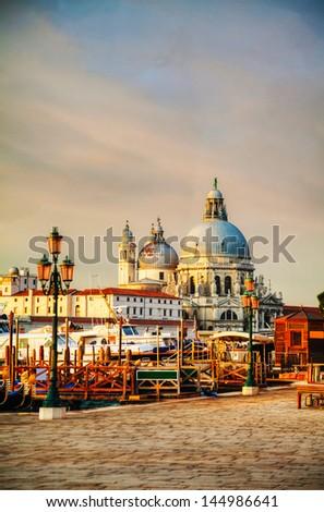 Basilica Di Santa Maria della Salute in Venice at sunrise - stock photo