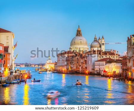 Basilica Di Santa Maria della Salute in Venice at sunset - stock photo