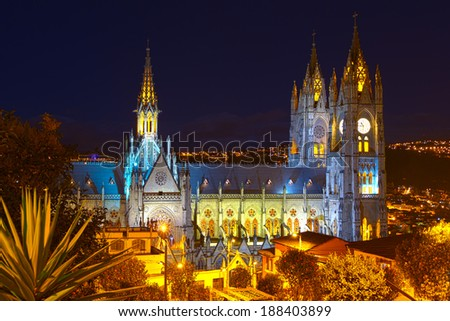 BASILICA OF NATIONAL VOTE BY NIGHT, QUITO ECUADOR  - stock photo