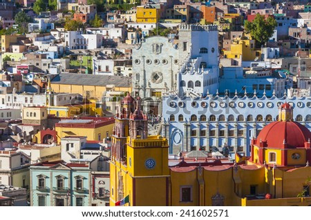 Basilica of Our Lady and University of Guanajuato, Mexico - stock photo