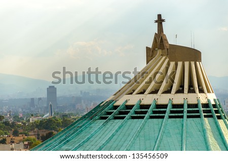 Basilica of Our Lady of Guadalupe in Mexico City, one of the most famous Catholic shrines in Latin America - stock photo