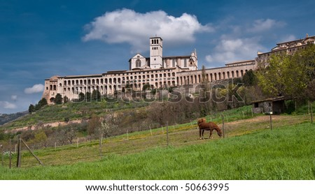 Basilica of Saint Francis, Assisi - stock photo