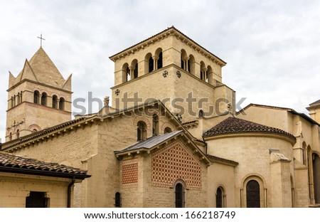 Basilica of Saint-Martin d'Ainay, 11th century church in Lyon, France - stock photo