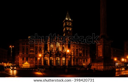 Basilica of Saint Mary Major, is Papal major basilica and the largest Catholic Marian church in Rome, Italy, located at 34 Piazza del Esquilino, some five blocks southwest of Stazione Termini. - stock photo