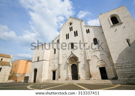 Basilica of Saint Nicholas, a church dedicated to Saint Nicholas of Smyrna, a famous pilgrimage site in Bari, Puglia, Southern Italy - stock photo