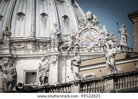 Basilica of Saint Peter, Vatican City, Rome, Italy - stock photo