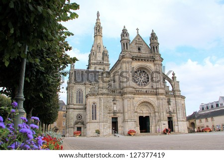 Basilica of Sainte-Anne d'Auray in Brittany, France - stock photo