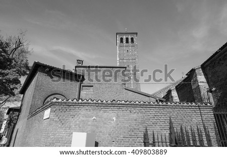 Basilica of Sant Ambrogio church in Milan, Italy in black and white