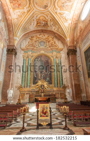 Basilica of St. Mary of the Angels and the Martyrs is a titular basilica church in Rome, built inside the frigidarium of the Baths of Diocletian in the Piazza della Repubblica. - stock photo
