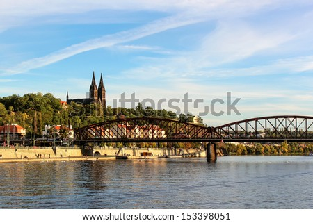 Basilica of St. Peter and Paul, the view from the river Vltava (Prague)