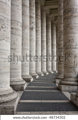 Basilica of St Peter - Rome, Italy - Columnate - stock photo
