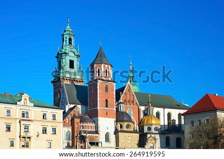 Basilica of St. Stanislaw and Vaclav or Wawel Cathedral in Krakow, Poland  - stock photo