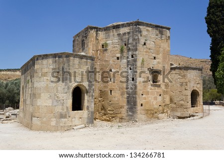 Basilica of St. Titus at Gortyna archaeological site, Crete, Greece - stock photo
