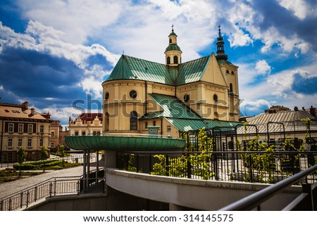 Basilica of the Assumption of the Blessed Virgin Mary in Rzeszow, Poland - stock photo