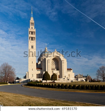 Basilica of the National Shrine of the Immaculate Conception in Washington DC on a clear winter day - stock photo