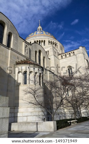 Basilica of the National Shrine of the Immaculate Conception - side view, Washington,  DC, USA. - stock photo