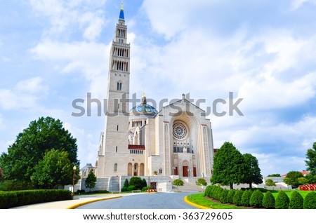 Basilica of the National Shrine of the Immaculate Conception - Washington D.C. - USA - stock photo