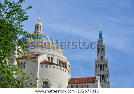 Basilica of the National Shrine of the immaculate Conception - Washington DC - stock photo