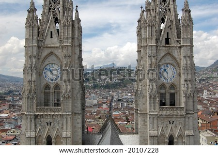 Basilica of the National Vow is a Roman Catholic church located in Quito, Ecuador. Consecreated in 1988, remains unfinished. The building is noted for its grotesques in the form of native animals. - stock photo