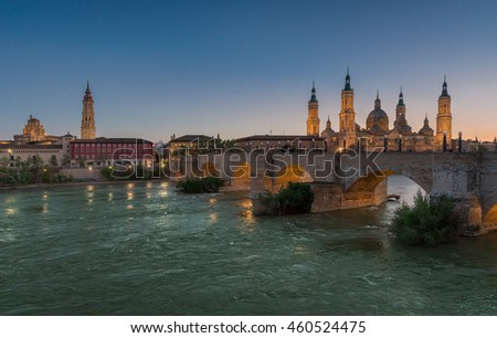 Basilica Our Lady Pillar In Zaragoza In Spain In Sunset