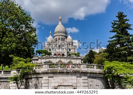 Basilica Sacre Coeur (designed by Paul Abadie, 1875 - 1914) - Roman Catholic church and minor basilica, dedicated to Sacred Heart of Jesus. Paris, France. - stock photo
