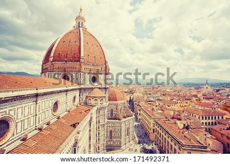 Basilica Santa Maria del Fiore and cityscape of Florence, Italy - stock photo