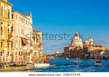 Basilica Santa Maria della Salute and Grand Canal in Venice in a beautiful summer day in Italy
